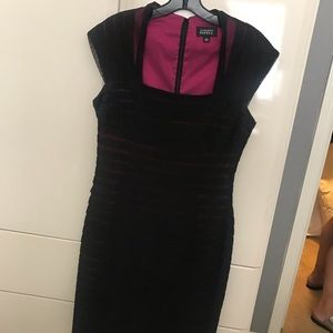 Adriana Papell, Black and hot pink cocktail dress